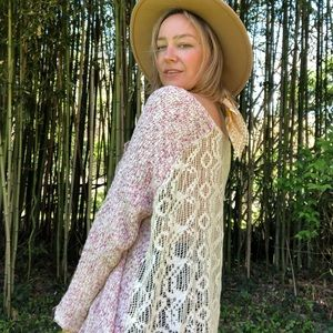 Free People Loose Knit Lace Back Sweater